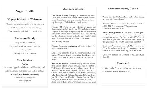 Bulletins : Montrose SDA Church Montrose CO